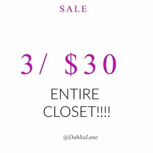 3 for $30 bundle sale!!